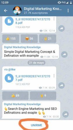Canales de Telegram de Marketing