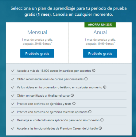 Planes de suscripción de LinkedIn Learning
