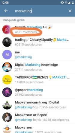 Lista de canales de Telegram de marketing