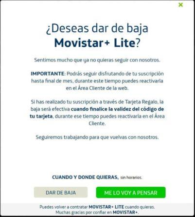 Movistar+ Lite, tramitar baja