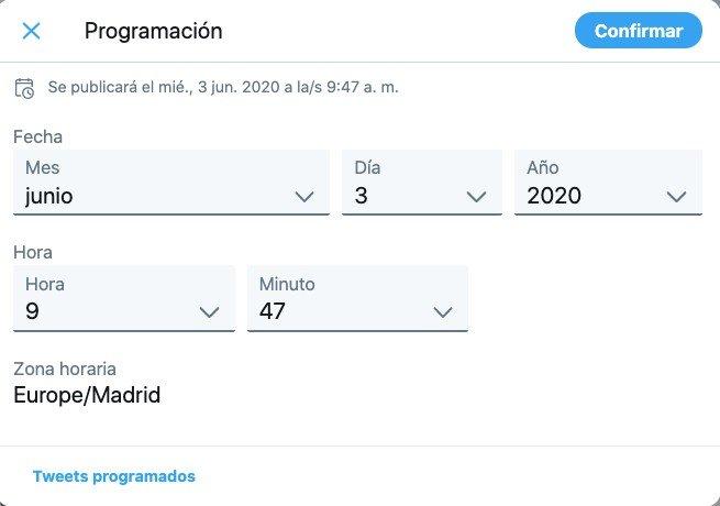 Twitter programar