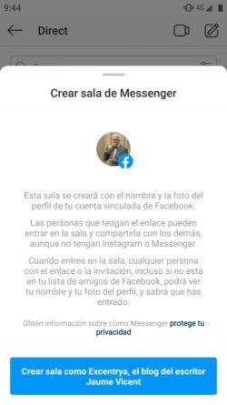 Crear Sala con Messenger Rooms