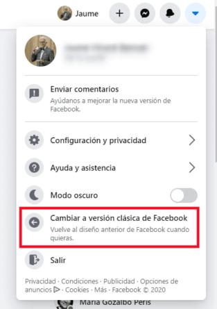 Cambiar a versión clásica de Facebook