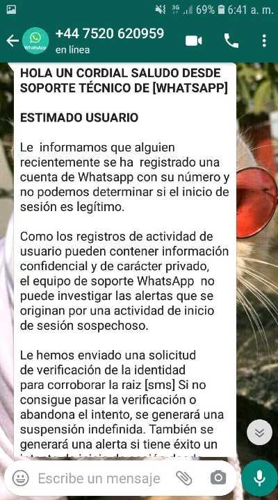 Mensaje de Estafa en WhatsApp