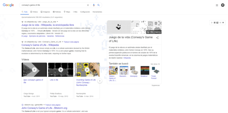 Conway's Game of Life en Google