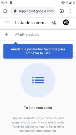 Añadir un producto a la lista de la compra compartida del Asistente