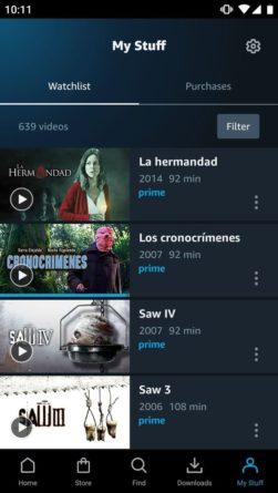 "Amazon Prime Video Android ""Mis Cosas"""