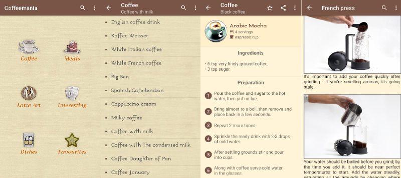 app para recetas de café