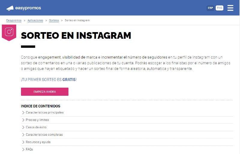 Easy Promos Sorteo en Instagram