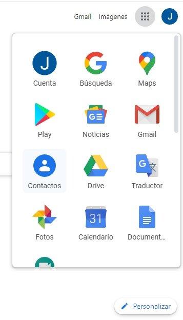 Sección de contactos Googl