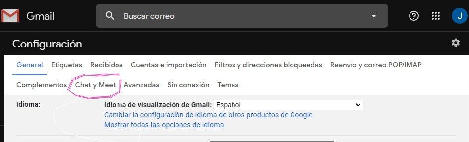 Ocultar Google Meet de Gmail
