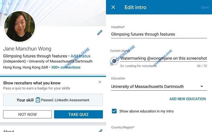 Los estados de LinkedIn en prueba