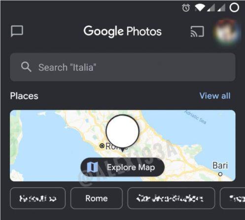 Mapa de Google Fotos