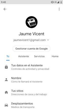 Perfil del Asistente de Google