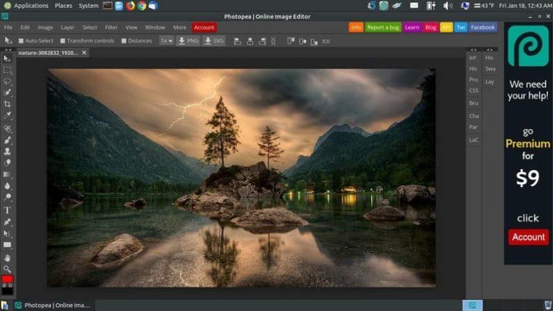 Photopea app para retoque de imágenes online