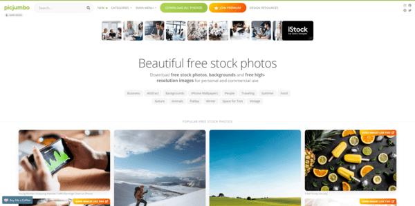 Picjumbo recursos gratis para ilustrar artículos