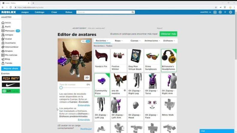 Roblox, avatar personlización