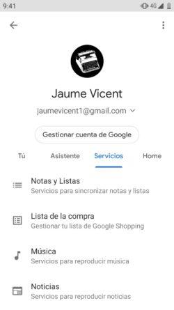 Servicio del Asistente de Google para listas
