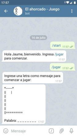 El Ahorcado juego de Telegram