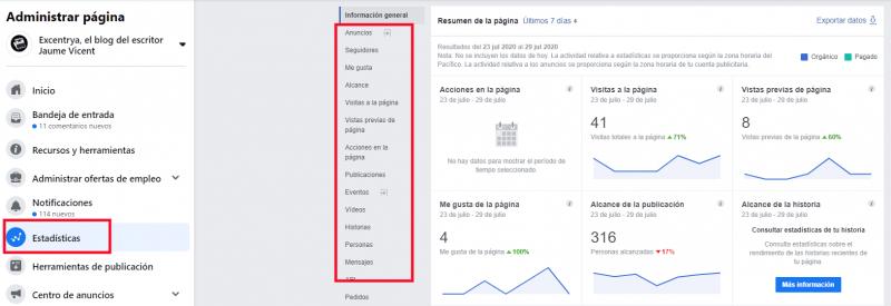 Página de resumen de Facebook Insights