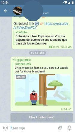 Gamebot juegos en chat de Telegram