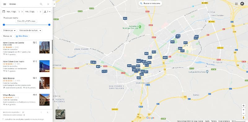Google Maps opciones de hoteles y precios