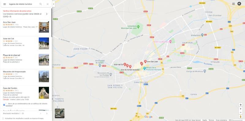 Encontrar lugares de interés turístico en Google Maps