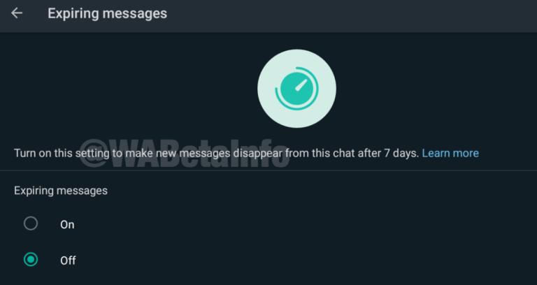 Autodestrucción mensajes WhatsApp