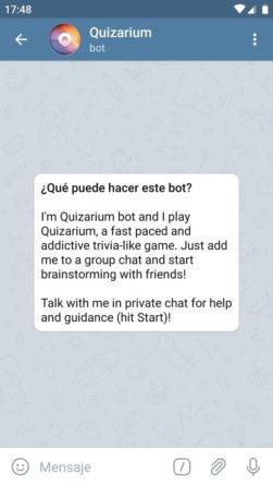 Quizarium juego para Telegram