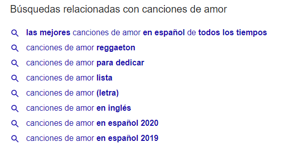 Busquedas relacionadas en Google