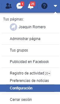 Menú Facebook