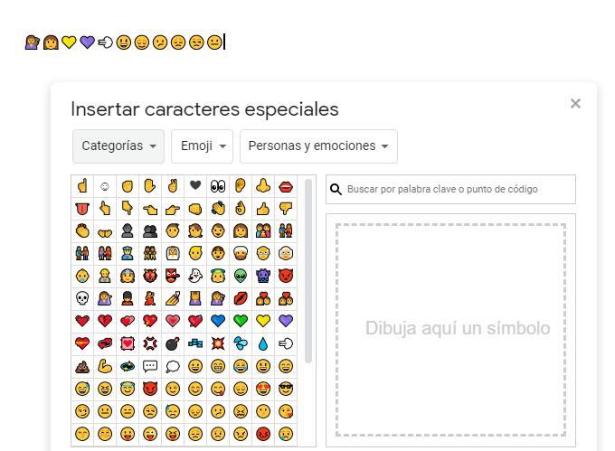 Emojis en Google Docs