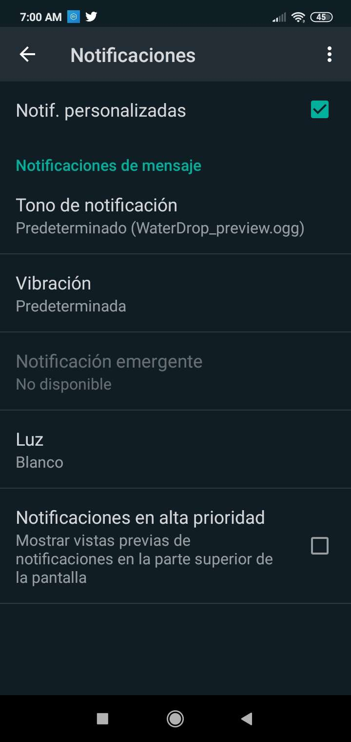 Personalizar notificaciones en WhatsApp