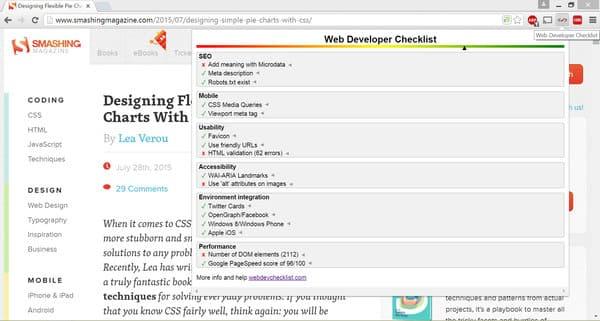 Web Developer Checklist extensión para navegadores