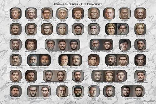 Póster con los rostros reconstruidos de los 54 emperadores
