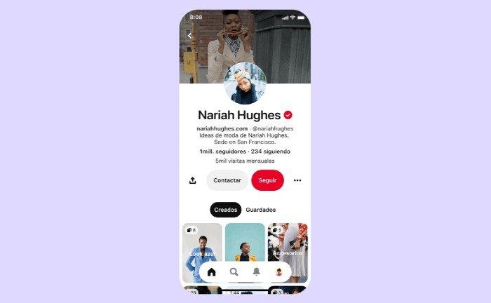 Nuevos perfiles de usuario en Pinterest