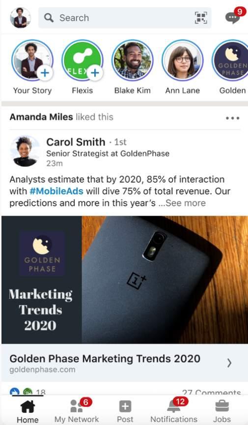Rediseño Linkedin en móviles