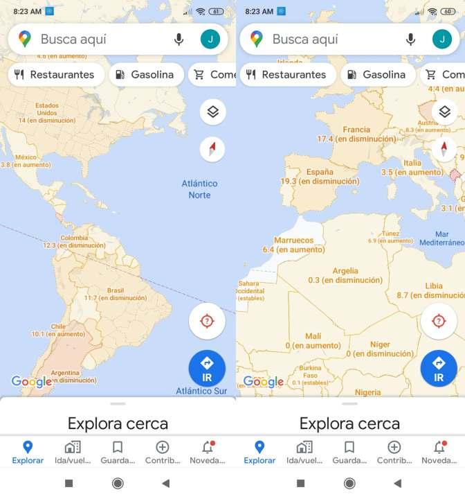Google Maps coronavirus