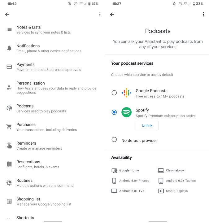 Configurar Google Assistant spotify Podcasts
