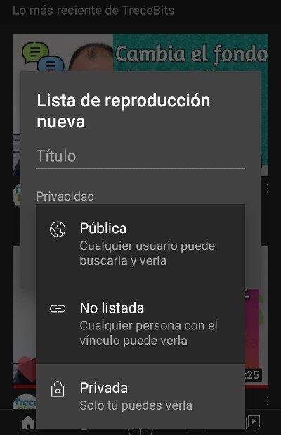 Crear lista de reproducción app