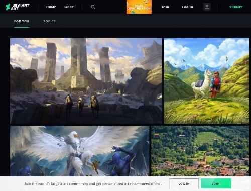 DeviantArt sitio web para artistas gráficos