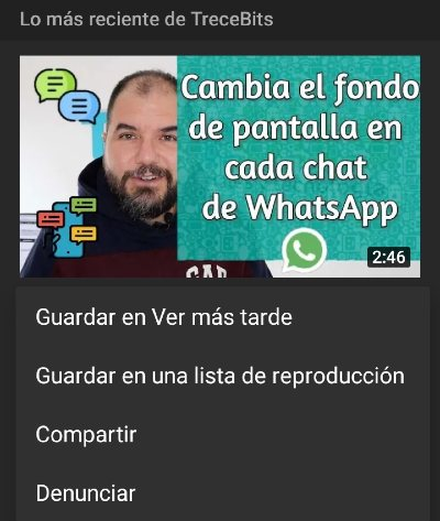 Guardar video App Youtube