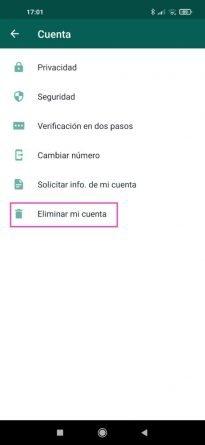 Paso a paso cómo se elimina una cuenta de WhatsApp