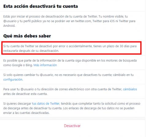 Eliminar definitivamente la cuenta de Twitter