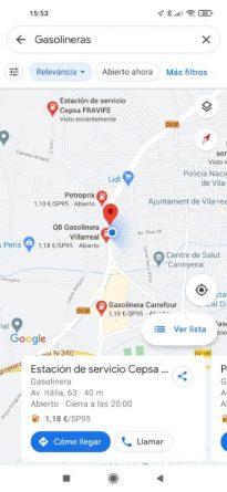 Google Maps Gasolineras y precios
