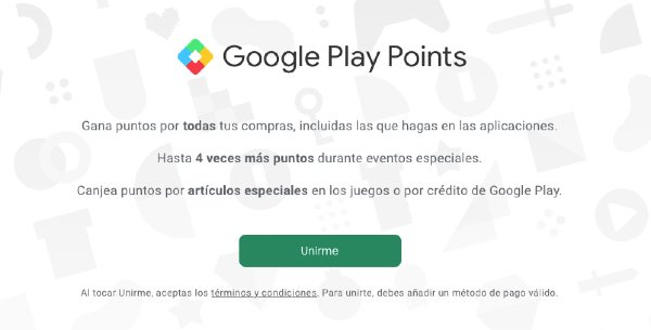 Registro en Google Play Points
