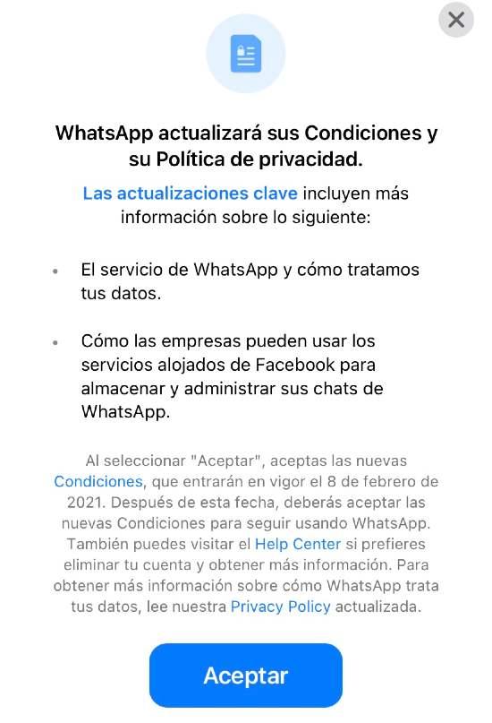WhatsApp cambio normas