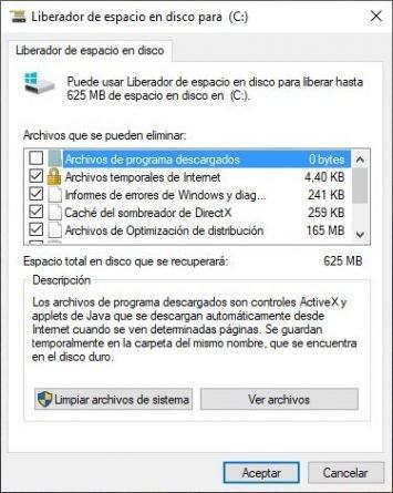 Liberador de Espacio en disco duro de Windows 10