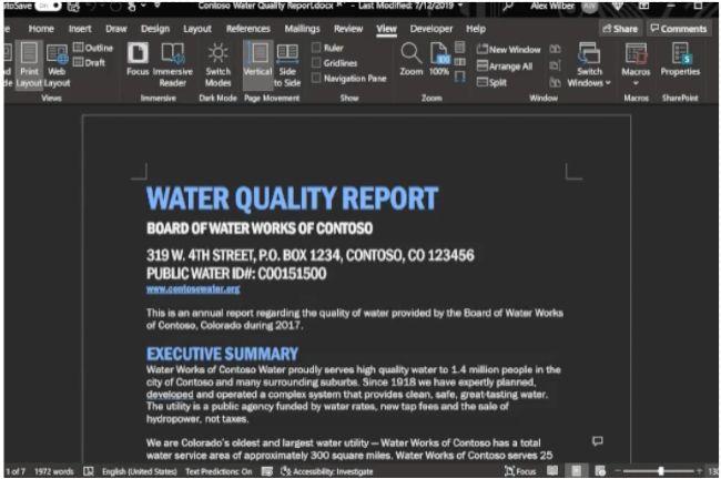 Modo oscuro de Microsoft Word