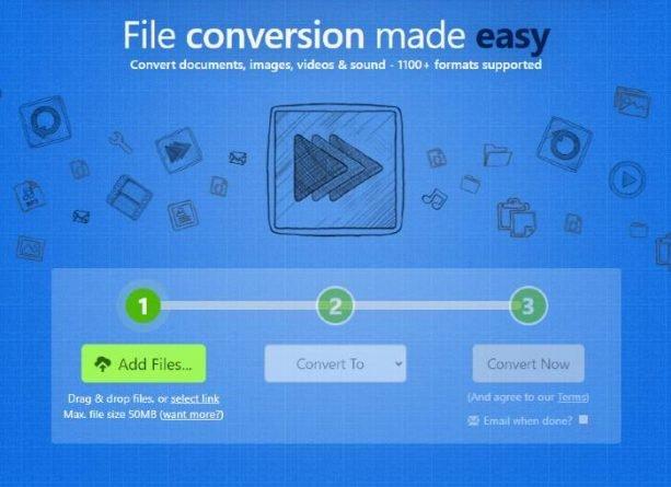 Zamzar aplicación para convertir vídeo